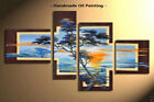 Framed Large Wall Art Modern African Tree Landscape Oil Painting on Canvas S3014