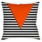 "Retro Vtg Style EURO MOD 66 Throw Pillow or Cover, 14/16/18"" Thin Stripes Orange"