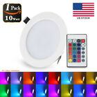 10W RGB LED Recessed Ceiling Panel Down Light Lamp Bulb + IR Remote Control US