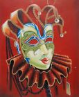 "Oil Painting on Stretched Canvas: ""Stunning Jester Mask"" Red Background 20x24"""