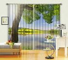 3D Lake Tree 12 Blockout Photo Curtain Printing Curtains Drapes Fabric Window AU