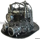 Mad Scientist Steampunk Top Hat Time Travel antenna tube Goggles Clock Gear Cool