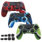 3 X PS4 PlaySation 4 Anti Slip Silicone Cover Skin For Controller. W/ 8 X Grips