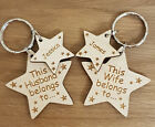 PERSONALISED HUSBAND & WIFE STAR KEYRINGS CHRISTMAS GIFT WEDDING ANNIVERSARY