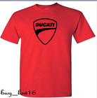 DUCATI LOGO T Shirt red black logo SIZE: S THRU 2XL FREE SHIPPING