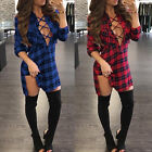 Fashion Women Sexy Hollow Out Bandage Lace Up Front Loose Tshirt Dress Black US