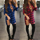 Sexy Women Deep V Lace-up Plaid Check Short Mini Dress Casual Top Blouse T-shirt