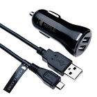 In Car Charger + 1m/3ft Cable by Keple for Phones & Tablets Dual USB  12V 2.4A