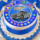 JAMES BOND HAPPY BIRTHDAY BLUE 7.5 INCH PRECUT EDIBLE CAKE TOPPER DECORATION $3.6 USD on eBay