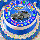 JAMES BOND HAPPY BIRTHDAY BLUE 7.5 INCH PRECUT EDIBLE CAKE TOPPER DECORATION $3.71 USD on eBay