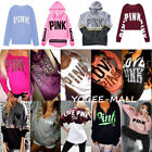 PINK Women Long Sleeve Hoodie Sweatshirt Sweater Casual Hooded Coat Pullover Top