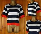 NEW M&S LADIES NAVY BLUE IVORY WHITE RED LIGHTWEIGHT STRETCHY SUMMER TOP UK 8-18