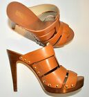 NIB Michaal KORS Somerly Leather Platform Heels Mules Peanut Sz 7.5M MSRP$185