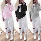 Womens Lace Up Sweatshirt Hoodie Long Sleeve Casual Top Shirt Pullover Jumper