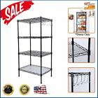 Stroage Units Carbon Steel 4 Tier Shelf Adjustable Wire Metal Rack Sundries NEW