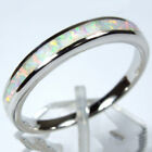 925 Sterling Silver Stackable Opal Wedding Engagement Eternity Ring Size 8 9 USA