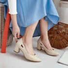 Size US4-10 Women Mid Block Heels Pointy Toe Slip On Pumps Court Dating OL Shoes