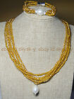 Champagne AB 4mm Crystal BEADS NECKLACE BRECELET SET SHELL PEARL PENDANT AA