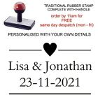 PERSONALISED HEART RUBBER STAMP WEDDING BESPOKE CUSTOMISED FAVOURS THANK YOU TAG