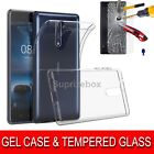 Clear Ultra Slim Gel Case Cover & Tempered Glass Protector For Nokia 8 3 5 6