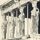 Greece. Post Card, CARYATIDS with PEN NIB from Isabelle