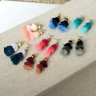 Multi Color Tiered Tassel Earrings With Crystal Rhinestone Stud