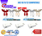 6ft Usb Braided Charger Cable Cord 3.1a Dual Fast Wall Charger For Iphone 5/6/7