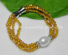 4mm Champagne AB Crystal BEADS BRECELET + SHELL PEARL PENDANT 7.5INCH PB217
