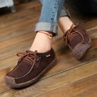 Womens Snail Lace-up Leather Casual Shoes Lady Suede Flat Boat Moccasins Fashion