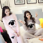 Women Winter  Warm  Flannel Coral Velvet Set Nightgown Soft Sleepwear Pajamas