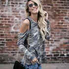 Women's Camouflage Long Sleeve T Shirt Top Army Printed Off Shoulder Tops LN