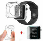 For Apple Watch 1 TPU Clear Slim Case Soft Cover+Tempered Glass i Watch 42/38mm