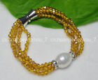 Champagne AB 4mm Crystal BEADS NECKLACE BRECELET SET SHELL PEARL PENDANT C2464
