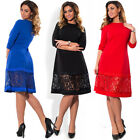 Womens Casual Dress Plus Size Bodycon Midi Skirt Lace Evening Cocktail Costume