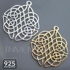 925 STERLING SILVER OPENWORK CELTIC KNOT 28mm Pendant Necklace