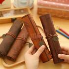 Canvas Treasure Map Wrap Roll Up Pencil Bag Leather Case Holder Holes Pouch Gift