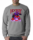 Gildan Crewneck Sweatshirt Sports Hockey Player Goal Goalie Design 1