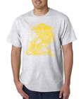 USA Made Bayside T-shirt Sports Hockey Player Shadow Digital Yellow