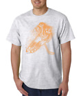 USA Made Bayside T-shirt Sports Hockey Player Shadow  Echo Orange