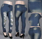 how to style denim joggers - NWT Women Vintage Rip Stretch Denim Joggers - size L to 3XL, Style#15687