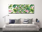 "Canvas Print Art 16X16""X3pc Watercolor Pink Flamingo Banana Leaves Oil Painting"