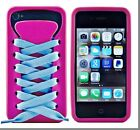3D Shoe Lace Design Soft Back Case Cover for iPhone 4/4s, In Original Retail Box