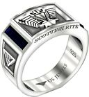 Men's 8mm 0.925 Sterling Silver Scottish Rite Simulated Sapphire Masonic Ring