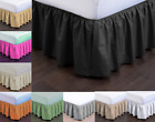 NEW MODERN SOLID DUST RUFFLE SPLIT CORNERS 1PC BED BEDDING PLEATED SKIRT C-KING image
