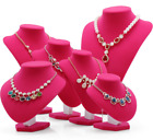 Velvet Women Girls Jewelry Necklace Bust Deep Pink Display Stand Holder
