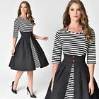 50s attire for women - US STOCK Vintage 50s Black and White Striped Sleeved Swing Dress unique