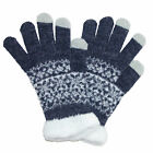 New CTM Women's Eyelash Touchscreen Fairisle Print Gloves