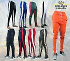 MEN'S HIPSTER  TECHNO TRACK  PANTS  WITH SIDE COLOR STRIPE 12 COLORS SIZE S~3XL