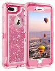 For iPhone 7 8 6s X & Plus Glitter Liquid Defender Case Belt Clip Fits Otterbox