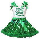 Daddy's Little Hunting Princess White Top Green Bling Sequins Girls Skirt 1-8Y